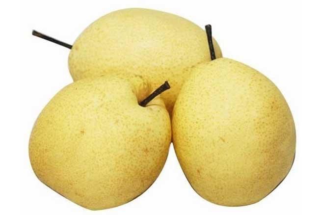 梨 梨是一种水果的名称,蔷薇科梨属植物,多年生落叶乔木果树,叶子卵形,花多白色,一般梨的颜色为外皮呈现出金黄色或暖黄色,里面果肉则为通亮白色,鲜嫩多汁,口味甘甜,核味微酸,凉性感,是很好的水果。 梨味甘微酸、性凉,入肺、胃经;具有生津、润燥、清热、化痰,解酒的作用;用于热病伤阴或阴虚所致的干咳、口渴、便秘等症,也可用于内热所致的烦渴、咳喘、痰黄等症。