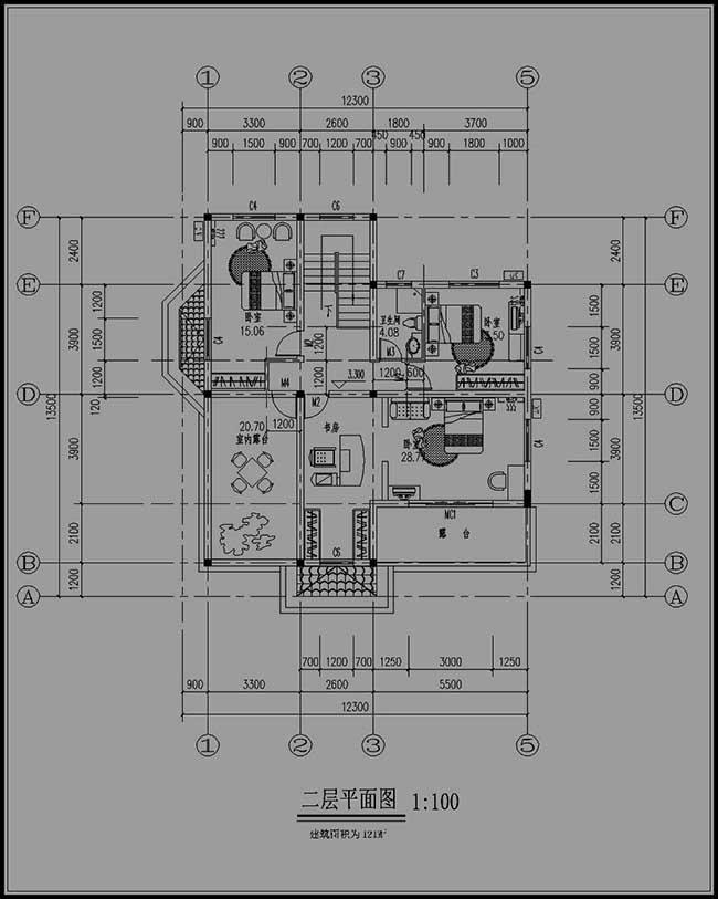 农村二层房屋二层平面图