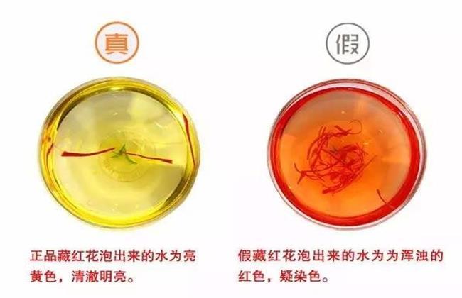 藏红花泡水真假对比